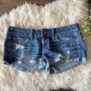 American Eagle distressed mid rise jean shorts